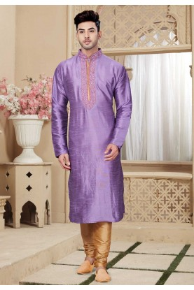 Buy Purple Color Art Silk Designer Indian Kurta Pajama