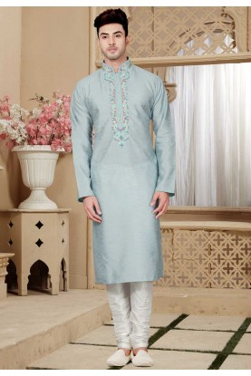 Grey Color Art Silk Kurta Pajama.