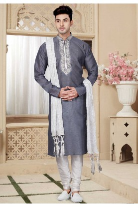 Grey Color Readymade Kurta Pyjama.
