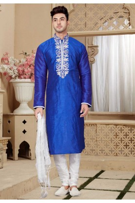 Blue Color Party Wear Kurta Pajama.