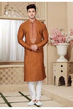 Brown Color Kurta Pajama.