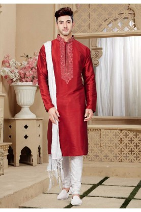 Maroon Color Party Wear Kurta Pajama.