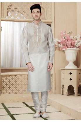 Off White Color Readymade Kurta Pajama.