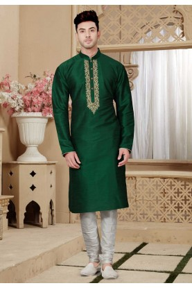 Green Color Designer Kurta Pajama.