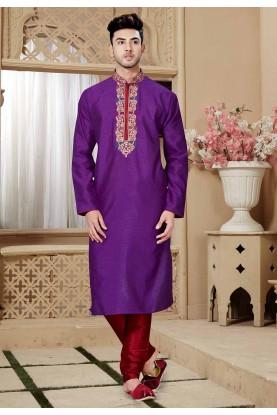 Purple Color Art Silk Kurta Pajama.