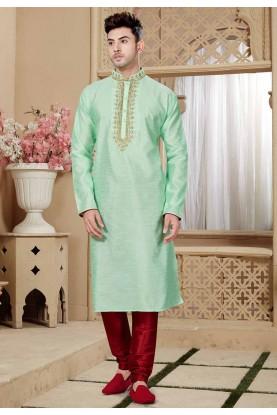 Green Color Traditional Kurta Pajama.