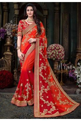 Red Color Designer Bridal Saree.