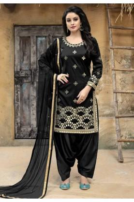 Black Color Party Wear Salwar Kameez.