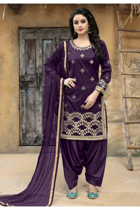 Purple Color Designer Salwar Kameez.