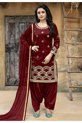 Maroon Color Indian Salwar Kameez.