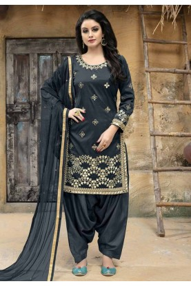 Grey Color Silk Salwar Kameez.