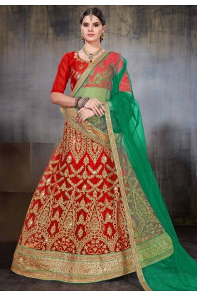 Red Color Indian Wedding Lehenga.