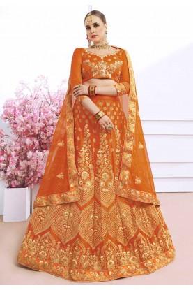 Orange Color Indian Designer Lehenga.