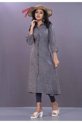 Grey Color Readymade Kurti.