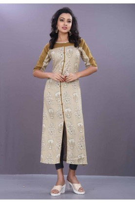 Off White Color Cotton Kurti.