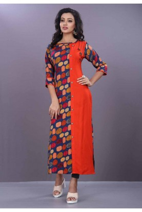 Multi Color Printed Kurti.