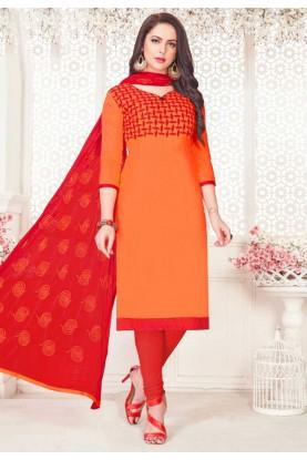 Orange Color Cotton Salwar Kameez.