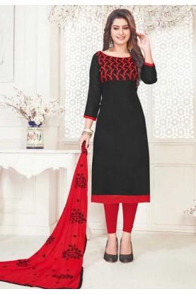 Black Cotton Salwar Kameez.
