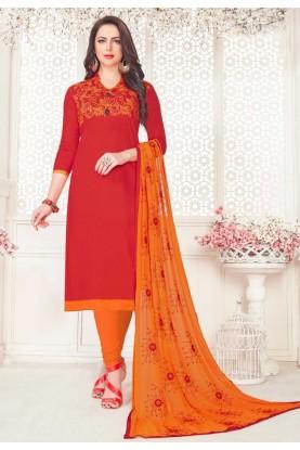 Red Color Salwar Suit.