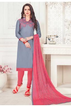 Grey Color Cotton Salwar Suit.