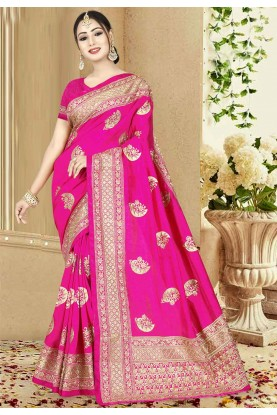 Pink Color Indian Saree.