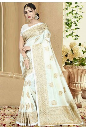 Off White Color Art Silk Saree.