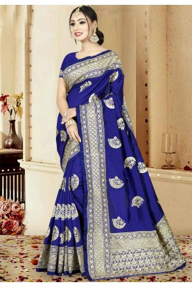 Blue Color Silk Saree.