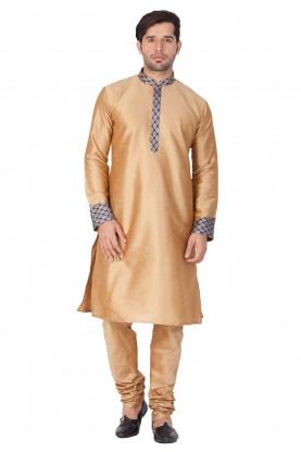 Golden Color Cotton Silk indian Kurta Pajama for wedding