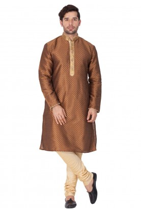 Brown Color Designer Kurta Pajama.