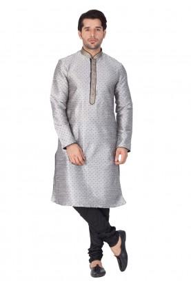 Grey Color Printed Kurta Pajama.