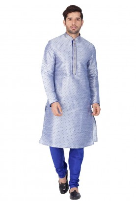 Blue Color Printed Indian kurta pajama for mens