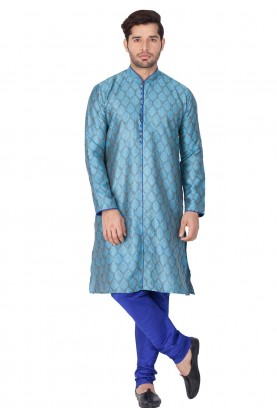 Blue Color Printed Kurta.