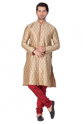 Beige Color Cotton Silk Kurta Pajama.