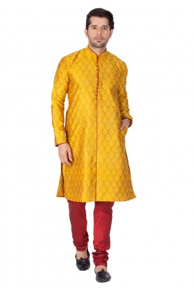 Buy designer kurta pajama in Yellow Color
