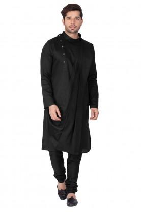 Black Color Cotton Kurta Pajama.