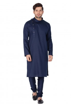 Blue Color Plain Indian kurta pajama for mens