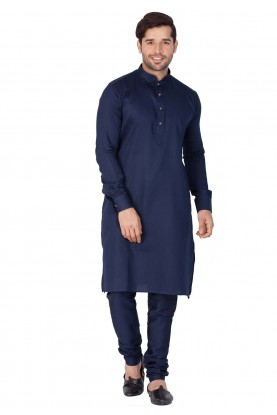 Blue Color Cotton Indian kurta pajama for mens