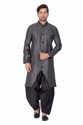 Grey Color Printed Indian kurta pajama for mens