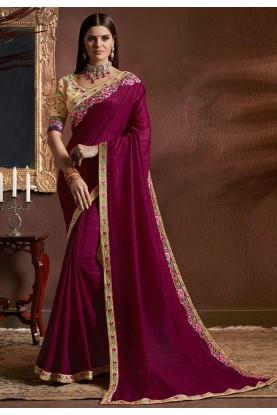 Magenta Color Designer Saree.