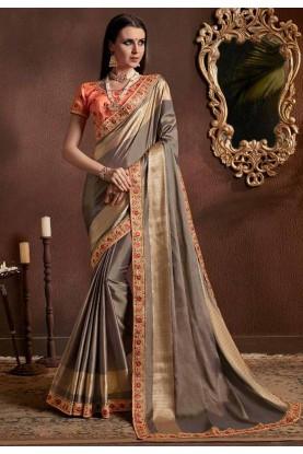 Grey Color Silk Saree.