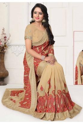 Cream Colour Designer Saree.