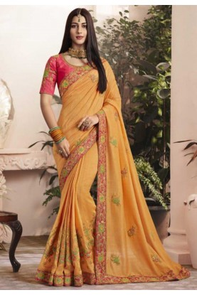 Yellow Colour Designer Saree.