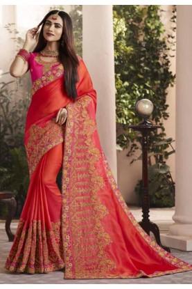 Red Colour Designer Bridal Saree.