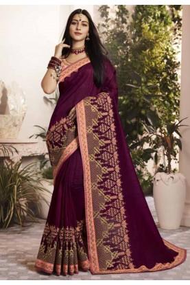 Purple Colour Indian Designer Saree.