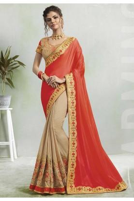 Red,Cream Colour Designer Saree.