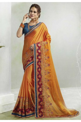 Yellow Colour Georgette Sari.