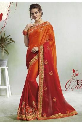 Red,Orange Colour Designer Sari.