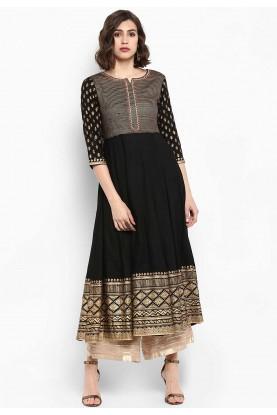 Black Colour Anarkali Kurti.