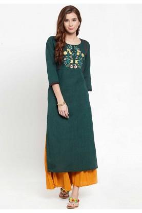 Green Colour Casual Kurti.