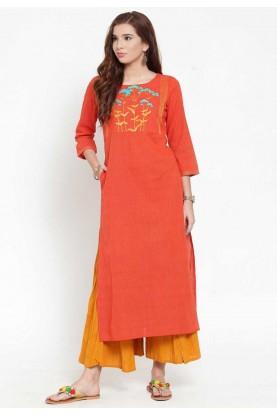 Orange Colour Cotton Kurti.